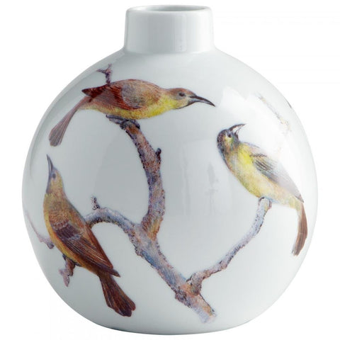 "Aviary Bird Theme Ceramic Vase 7"" Height"