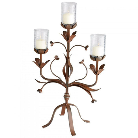 Azalea Floral Style Candle Holder in Rustic Finish