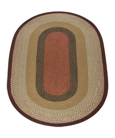 Burgundy/Mustard 5'x8' Oval Braided Jute Rug 07-019