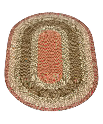 Olive/Burgundy/Gray 5'x8' Oval Braided Jute Rug 07-024