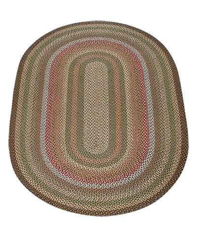 Fir/Ivory 5'x8' Oval Braided Jute Rug 07-051