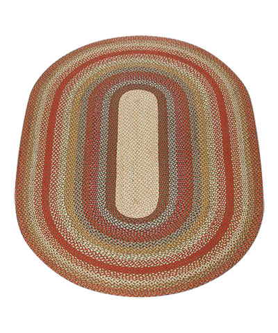 Honey/Vanilla/Ginger 5'x8' Oval Braided Jute Rug 07-300