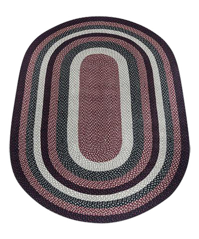 Burgundy/Black/Tan 5'x8' Oval Braided Jute Rug 07-344