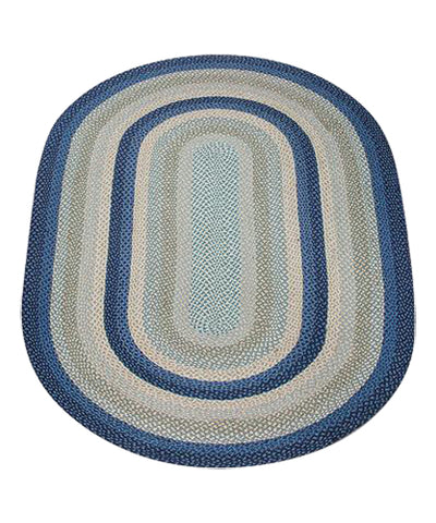 Breezy Blue/Taupe/Ivory 5'x8' Oval Braided Jute Rug 07-362