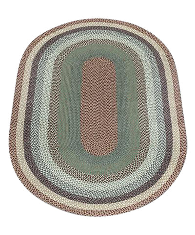 Buttermilk/Cranberry 5'x8' Oval Braided Jute Rug 07-413