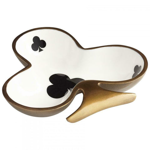 Clubs Playing Card Suit Aluminum Snack Bowl with Bronze/Gold Trim