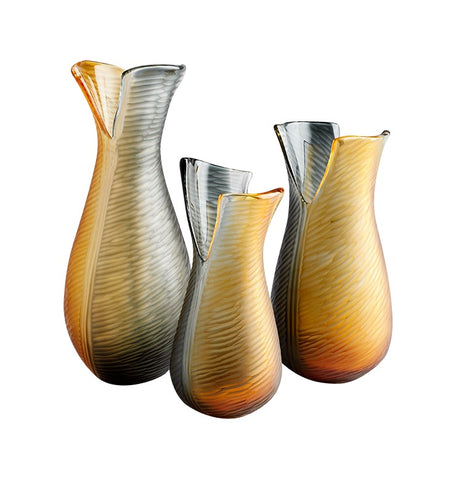 Candice Amber and Smoked Glass Vase in 3 Sizes