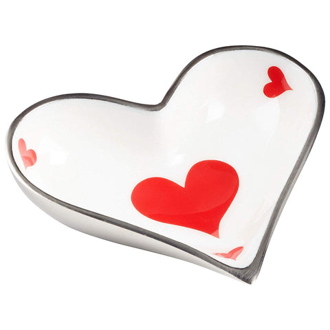 Hearts Playing Card Suit Aluminum Snack Bowl with Nickel/Silver Trim