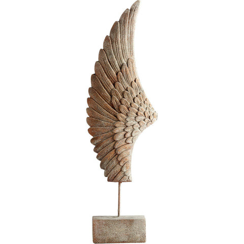 "Left-Sided Wing Feathers 35.75""H Cement Sculpture in Rustic Finish"