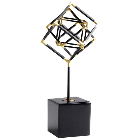 "All The Right Angles Iron Sculpture in Black and Gold 15.5""H"