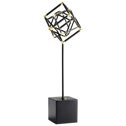 "All The Right Angles Iron Sculpture in Black and Gold 20.75""H"