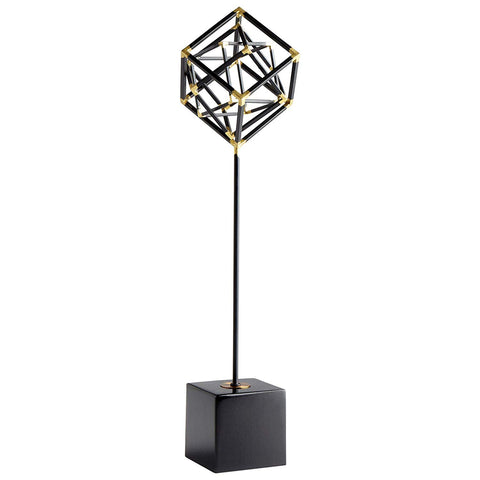 "All The Right Angles Iron Sculpture in Black and Gold 23.5""H"