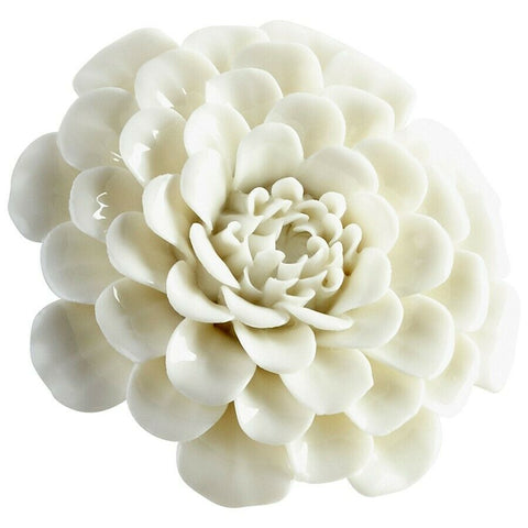"Flourishing Flower Bloom Ceramic Sculpture in Off White 3.25"" diameter"