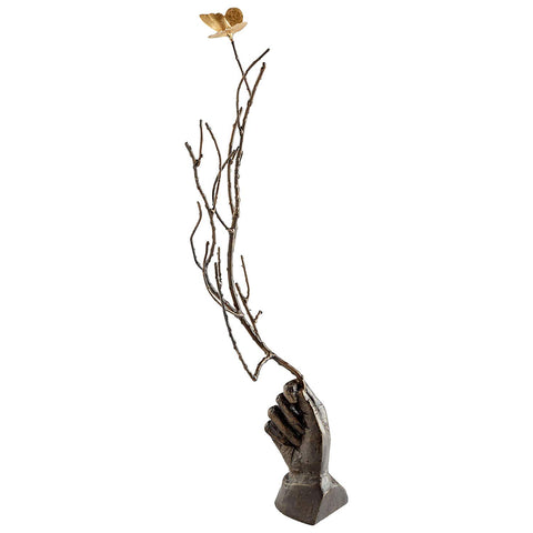 Hand Holding Branch with Flower Iron Sculpture