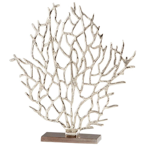 "Coral Branch Aluminum Sculpture with Nickel and Bronze Finish 17""H"