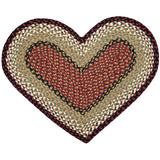 Burgundy/Mustard Heart Shaped Braided Jute Rug 10-019