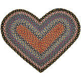 Burgundy/Blue/Gray Heart Shaped Braided Jute Rug 10-043