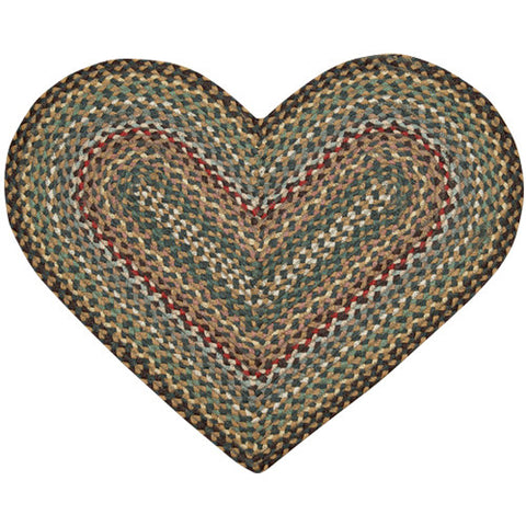 Fir/Ivory Heart Shaped Braided Jute Rug 10-051