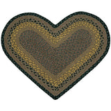 Brown/Black/Charcoal Heart Shaped Braided Jute Rug 10-099