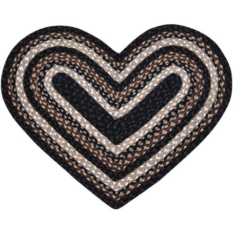 Mocha/Frappuccino Heart Shaped Braided Jute Rug 10-313
