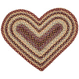 Burgundy/Gray/Cream Heart Shaped Braided Jute Rug 10-357