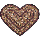 Black Cherry/Chocolate/Cream Heart Shaped Braided Jute Rug 10-371