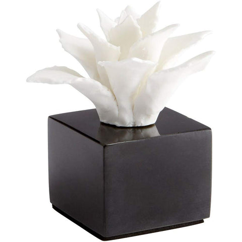 "White Calendine Bloom Ceramic Sculpture on Black Marble Base 4.75""H"