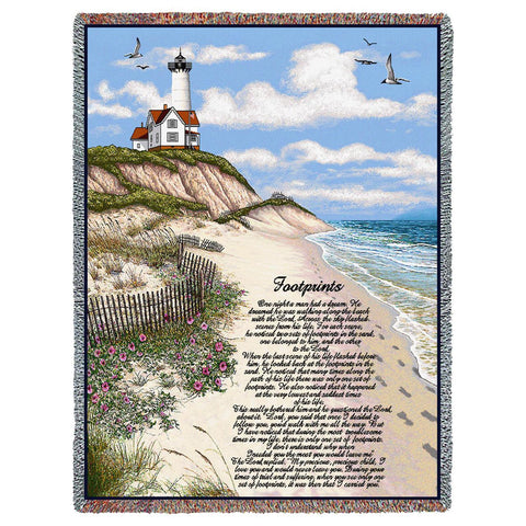 Footprints Poem with Lighthouse Scene Art Tapestry Throw
