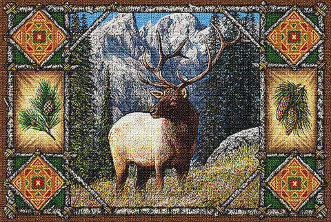 Elk Lodge Art Tapestry Placemat, Set of 4