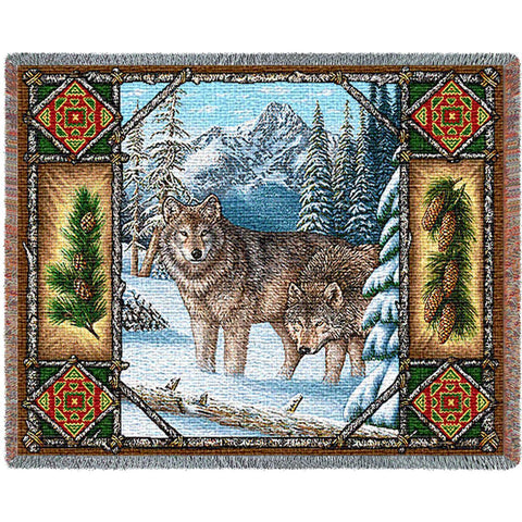 Wolf Lodge Art Tapestry Throw