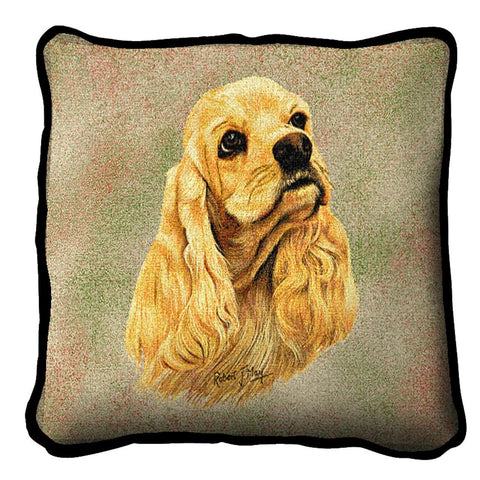 Cocker Spaniel Dog Portrait Art Tapestry Pillow