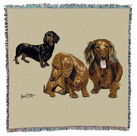 Dachshund Puppies Art Tapestry Lap Throw