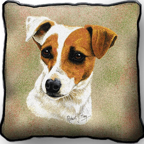 Jack Russell Terrier Dog Portrait Art Tapestry Pillow