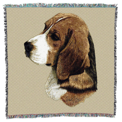 Beagle Dog Portrait Art Tapestry Lap Throw