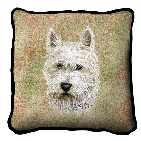 West Highland White Terrier Dog Portrait Art Tapestry Pillow
