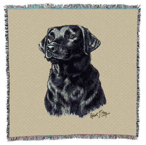 Black Labrador Retriever Dog Portrait Art Tapestry Lap Throw