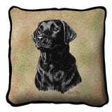 Black Labrador Retriever Dog Portrait Art Tapestry Pillow