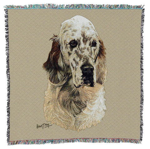 English Setter Dog Portrait Art Tapestry Lap Throw