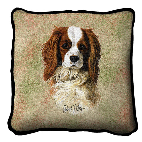 Cavalier King Charles Spaniel Dog Portrait Art Tapestry Pillow