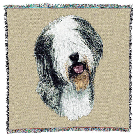Old English Sheepdog Portrait Art Tapestry Lap Throw