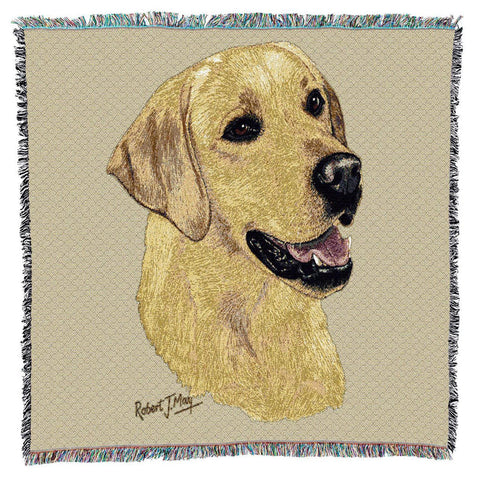 Yellow Labrador Retriever Dog Portrait Art Tapestry Lap Throw