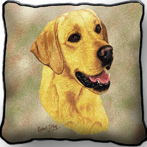 Yellow Labrador Retriever Dog Portrait Art Tapestry Pillow