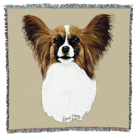 Papillion Dog Portrait Art Tapestry Lap Throw