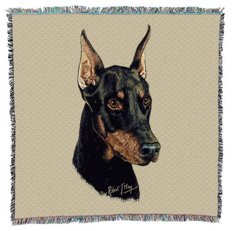Doberman Pinscher Dog Portrait Art Tapestry Lap Throw
