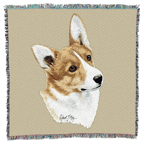 Welsh Corgi II Dog Portrait Art Tapestry Lap Throw
