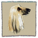 Afghan Hound Dog Portrait Art Tapestry Lap Throw