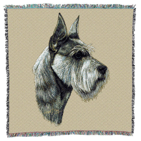 Schnauzer Dog Portrait Art Tapestry Lap Throw