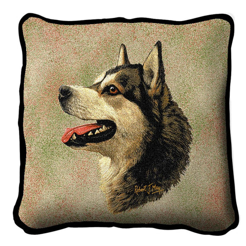 Alaskan Malamute Dog Portrait Art Tapestry Pillow