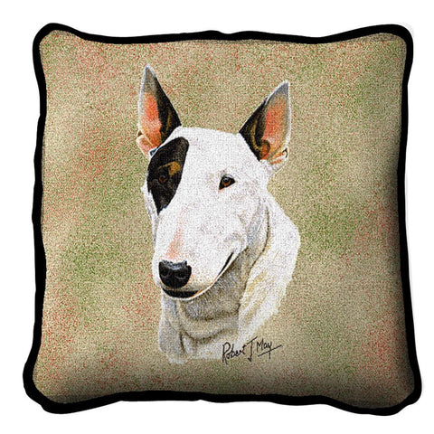 Bull Terrier Dog Portrait Art Tapestry Pillow