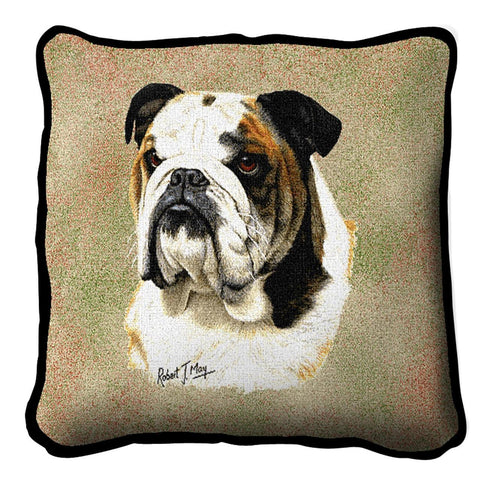 Bulldog Portrait Art Tapestry Pillow